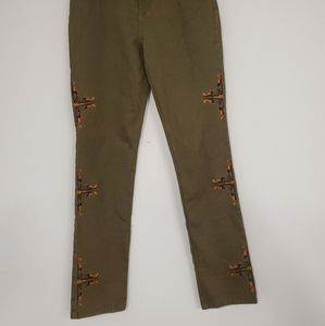 Diane Gilman green aztec embroidered stretch jeans